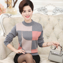 New middle - aged women's fall and winter clothes bottoming shirt round neck cashmere sweater knitted sweaters Plus Size M-XXXL(China (Mainland))
