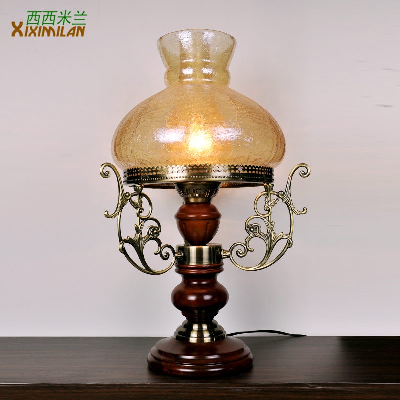 Fashion vintage retro finishing glass lamp cover crack for Bedside decoration