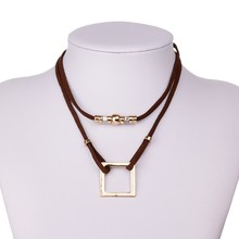 Punk Gothnic Jewelry Double Layer Brown/Black Velvet Chokers Necklaces For Women Geometric Square Pendant collier multi couche(China (Mainland))