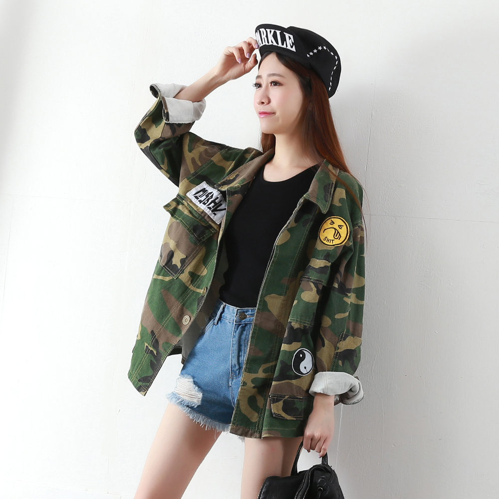 camouflage jacket military women veste militaire femme wide waisted womens jackets and coats. Black Bedroom Furniture Sets. Home Design Ideas