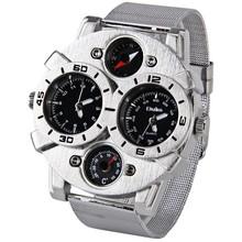 Envío gratis reloj deportivo militar Oulm 1166 marca de múltiples funciones reloj de hombre con doble Movt del Dial genuino banda de acero inoxidable