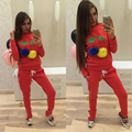 Winter 2 Pieces Sport Suit Women Brand Tracksuits Black Red Running Set Long Sleeved Women s