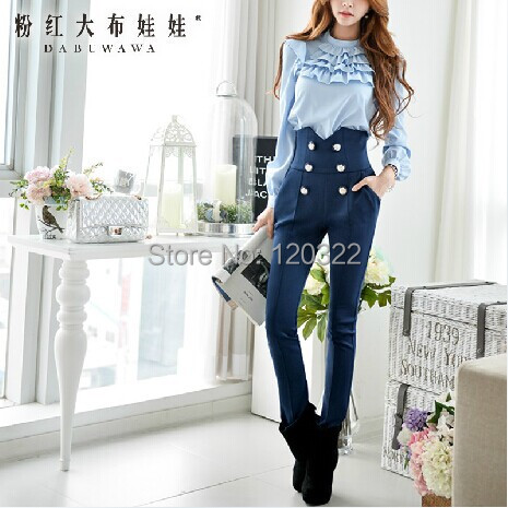 Original New 2014 Brand Spring and Autumn Navy Blue High-waist Plus Size Slim Casual Women Pencil Pants Trousers WholesaleОдежда и ак�е��уары<br><br><br>Aliexpress