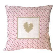 Brown heart shape printed pink flora pillow covers