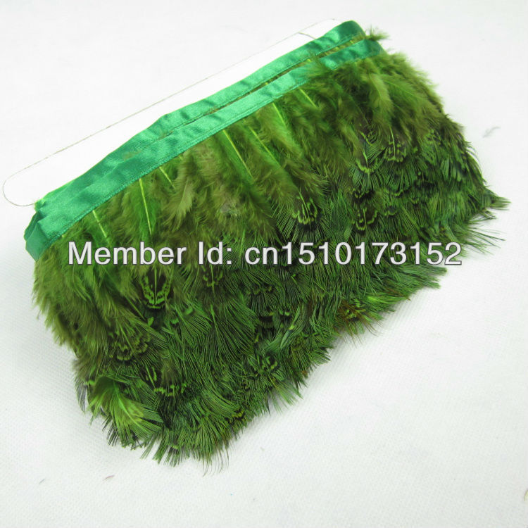 1Yards/lot Green Pheasant Fringed Feather 2-3inches/5-8cm Decoration BB2-6  -  TiTi Market store