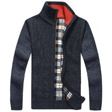 Warm Thick Velvet Cardigan Sweaters Men Winter fashion Sweatercoat zipper Collar Man Casual Clothes Pattern Knitwear Big size(China (Mainland))