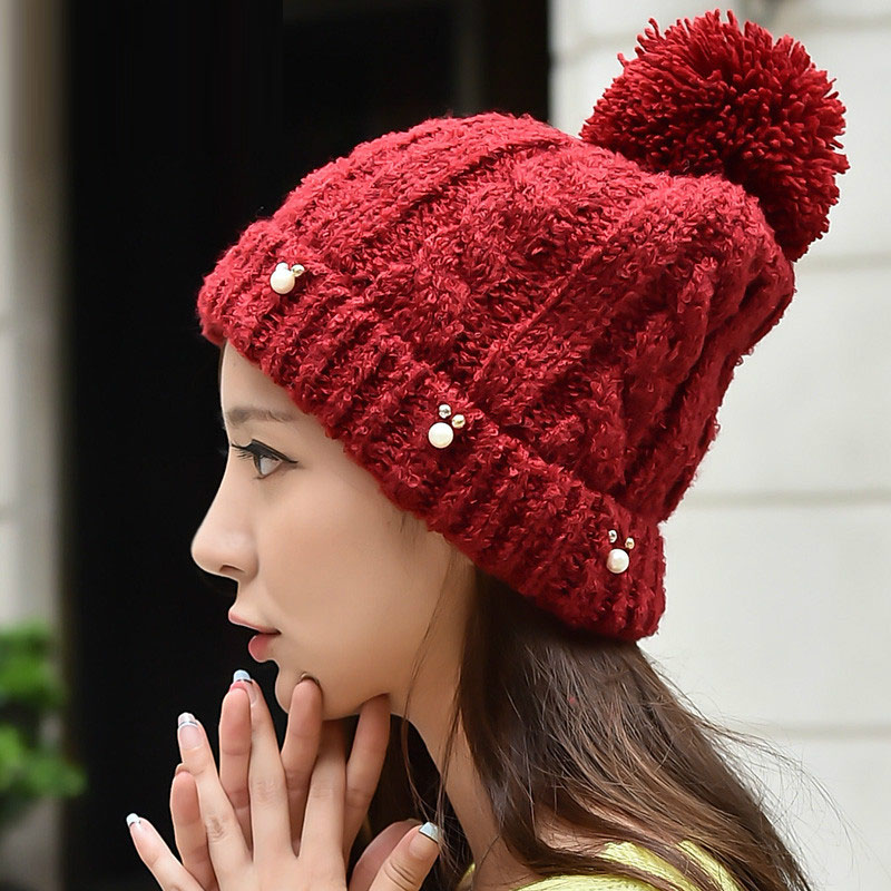 Fall Winter Fashion Women's Warm Thick Patchwork Knitted Pearls Hats , Ladies Casual Beanies , Fleece Rhinestone Hats For Woman(China (Mainland))
