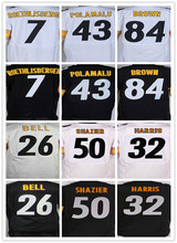 Best quatily jersey Men's 7 Ben Roethlisberger 26 Le'Veon Bell 43 Troy Polamalu 50 Ryan Shazier 84 Antonio Brown elite jerseys(China (Mainland))