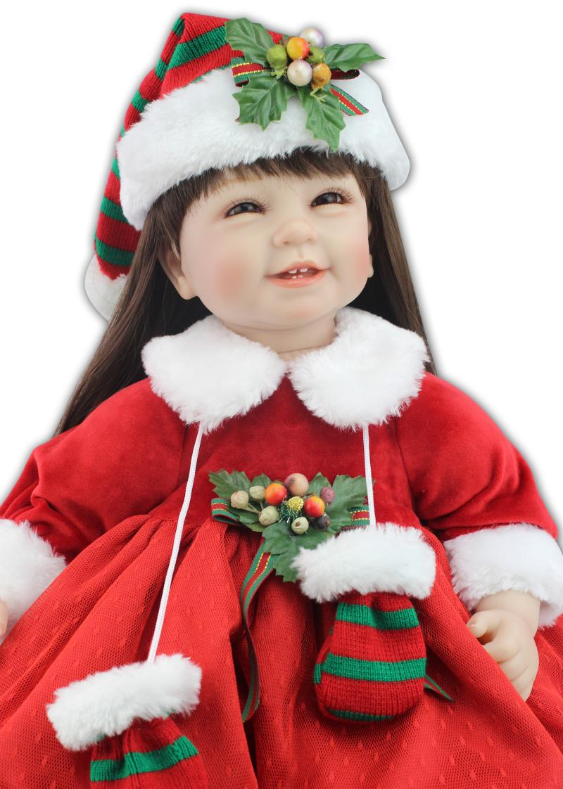 55CM silicone reborn baby dolls for girls Christmas dress up brown long hair princess birthday gifts for children