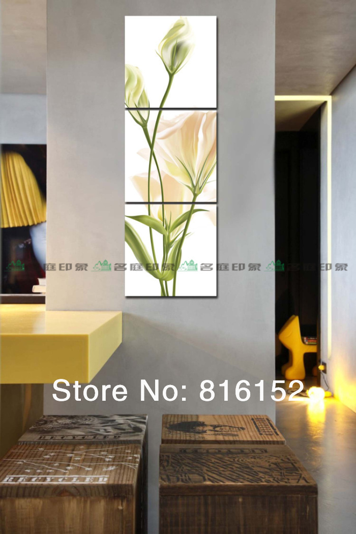 3 Pieces Modern Vertical Combined Canvas Painting Elegant Light Yellow Flower Home Painting Picture Free Shipping(China (Mainland))