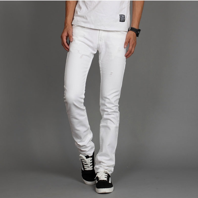 2015 new Autumn England style Unique Joker white denim jeans for men washed casual slim white jeans men,size 28-34(China (Mainland))