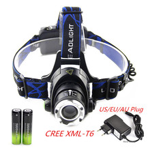 2000LM CREE XM-L T6 LED Headlamp Headlight 18650 flashlight Torch  head light lamp +2x 5800mAh 18650 Battery+US/EU charger(China (Mainland))