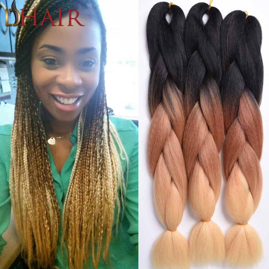 Ombre Kanekalon Braiding Hair Synthetic Jumbo Braiding Hair Three Tone Black Brown Blonde Braids 24Inch 100G/Pc Hair Extensions(China (Mainland))