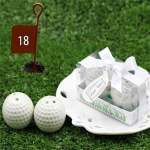 300pcs=150sets/Lot+Newest Wedding Favors and Gift Golf Ball Salt and Pepper Shakers Award Gift Golf Game +FREE SHIPPING(China (Mainland))