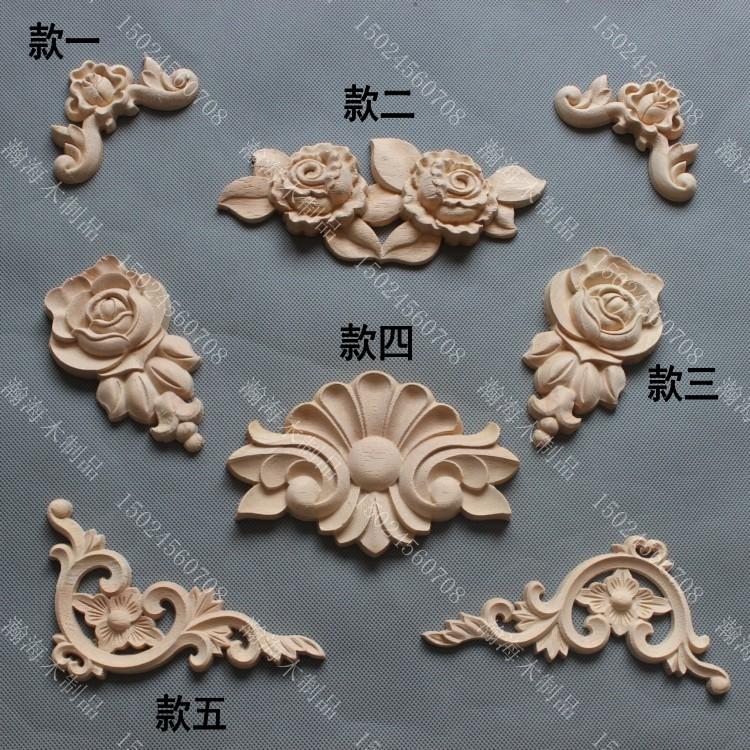Fashion Furniture Carved Solid Wood Decoration Applique Cabinet Door Motif Carved Corner Flower
