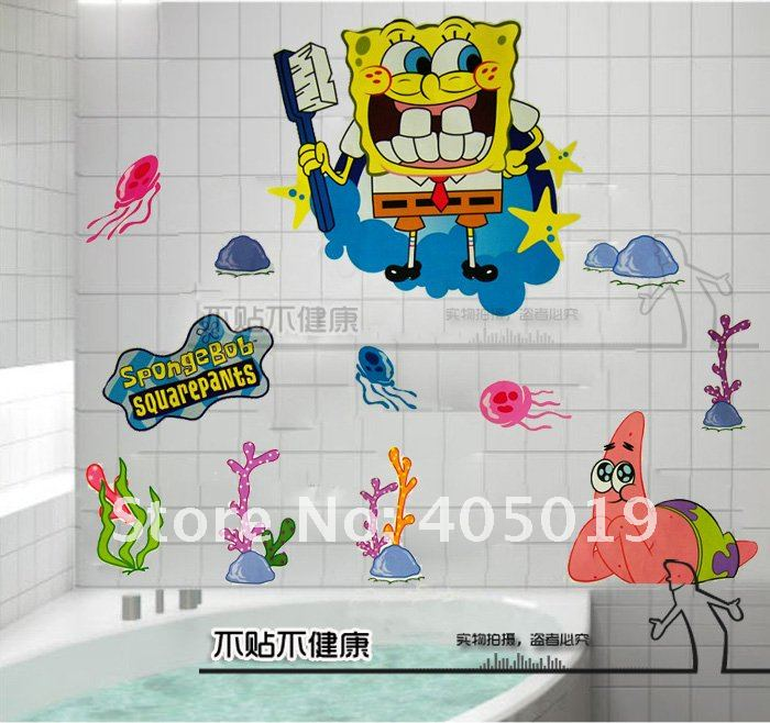 60x90cm HL6855 SpongeBob Stickers Squarepants Cartoon Mural Art Wall Window  Cling Giant Room Paper Home Decoration ...