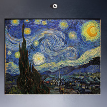 Starry Night c1889 Giclee  poster By vincent Van Gogh print  Wall oil Painting picture print on canvas(China (Mainland))