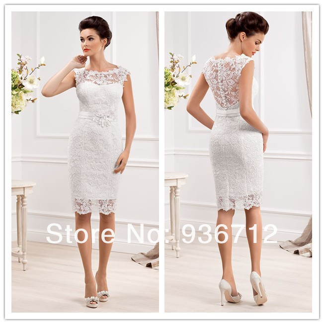 2015 new designer elegant scoop neckline sheath lace short for Dresses for a civil wedding ceremony