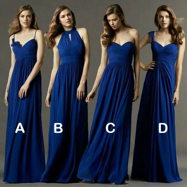 Elegant New Royal Blue Bridesmaid Dresses 2015 Formal Chiffon Wedding Party Dress Prom Gown vestido de festa H559(China (Mainland))