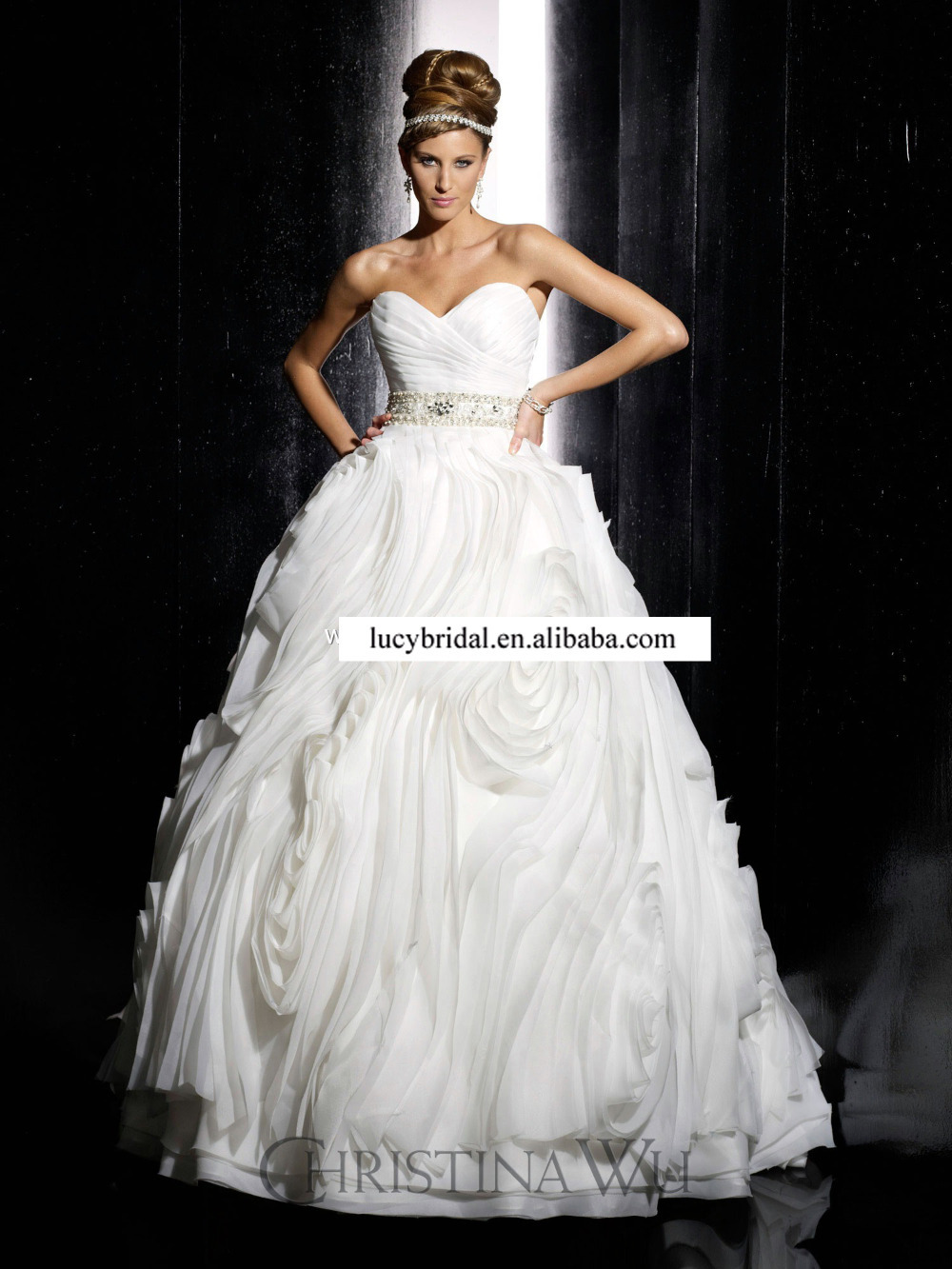 Aliexpress Buy Fashion Diamond Waisted Big Ruffled Organza Ball Gown Wedding Dresses