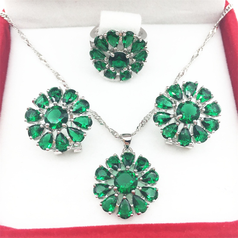 925 Silver Emerald Green Jewelry Sets Huge Flower Style Earrings/Pendant/Necklace/Rings Size 6/7/8/9 For Women Free shipping(China (Mainland))