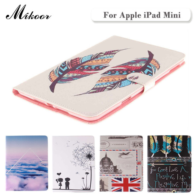 High Quality Painted With Stand Flip PU Leather sFor iPad Mini 2 1 Case For iPad Mini 1 2 3 Smart Case Cover TX001