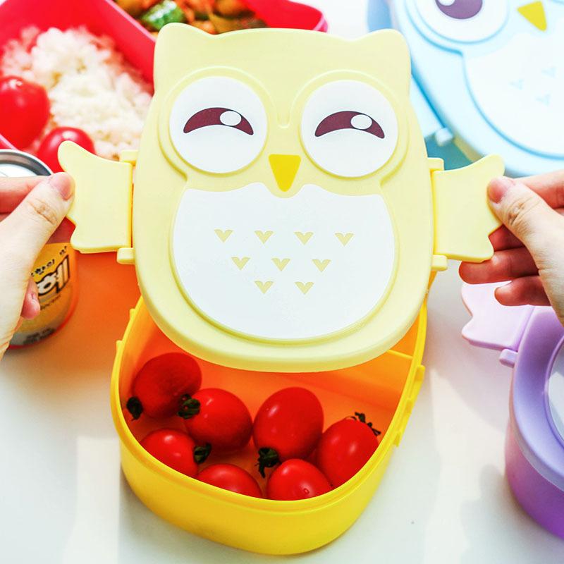 SZS Hot Bento Box Cartoon Cute Owl Bento Lunch Meal Box Tableware(China (Mainland))