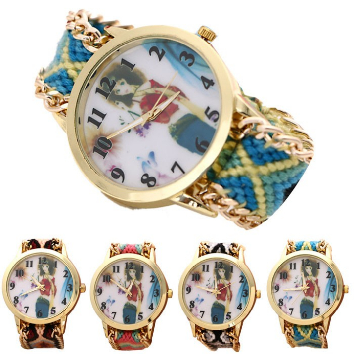 Best Deal Fashion Casual New Women Ladies Multi-Color Knitted Watches Bracelet Quartz Watches 1pc(China (Mainland))