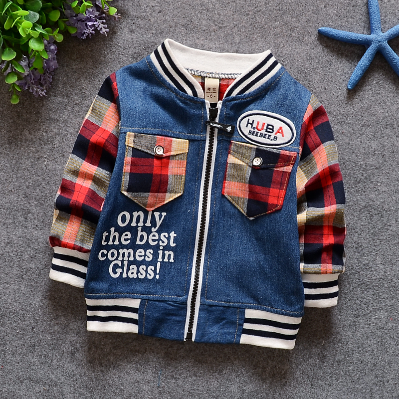 Toddler Baby Boy Denim Jacket Jean Jackets for Children Girls Boys Cardigan Coat Plaid Spring Autumn Causal Kids Tops Clothing(China (Mainland))