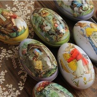 Set of 2/5/10 pcs Vintage Retro Look Easter Egg Round Easter Sunday Little Mini Iron Box Rabbit Bunny Tin Box(China (Mainland))