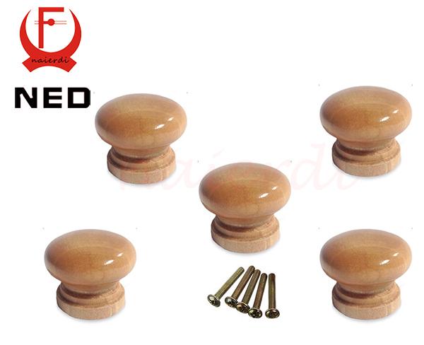 NED 10pcs/Lot 3.6X2.6CM Big Size Natural Wooden Cabinet Drawer Wardrobe Door Knob Pull Handle Hardware Plain Circle Handles(China (Mainland))