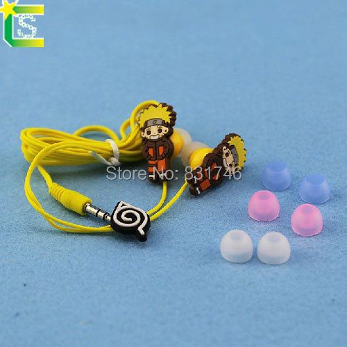 Cartoon Anime the Naruto students Style 3.5mm in ear Headphone Earphone for Mobile Phone MP3 media player(China (Mainland))