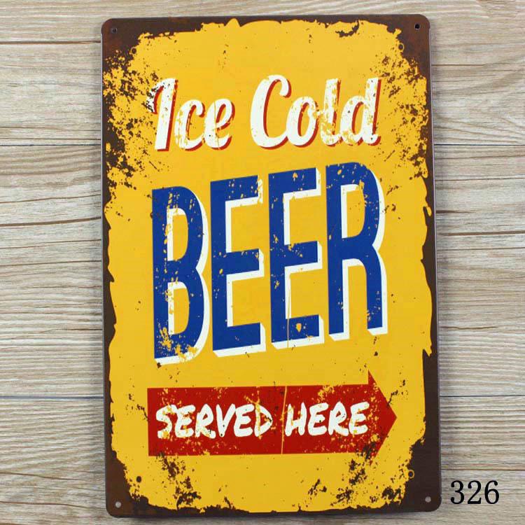 ICE COLD BEER served Here Tin Sign Metal Wall Decor Bar Pub Tavern Display L-171(China (Mainland))