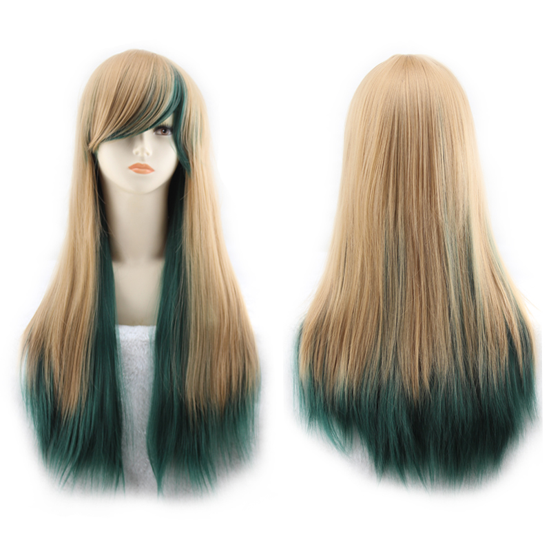 Goldway 70cm Fashion Ombre Brown mixed Green Straight Synthetic Wig Glueless Two Tone<br><br>Aliexpress