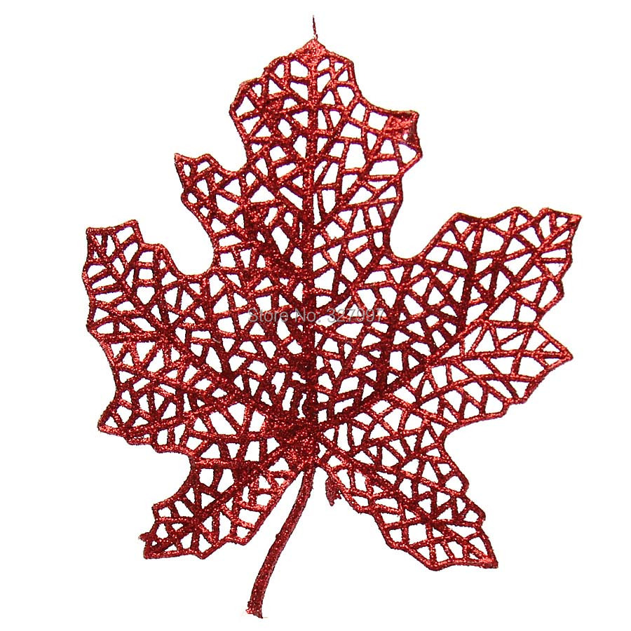 Fashion Xmas decoration artificial red gold 13cm hollow maple craft supplies Christmas tree wreath accessories 5pcs/lot(China (Mainland))