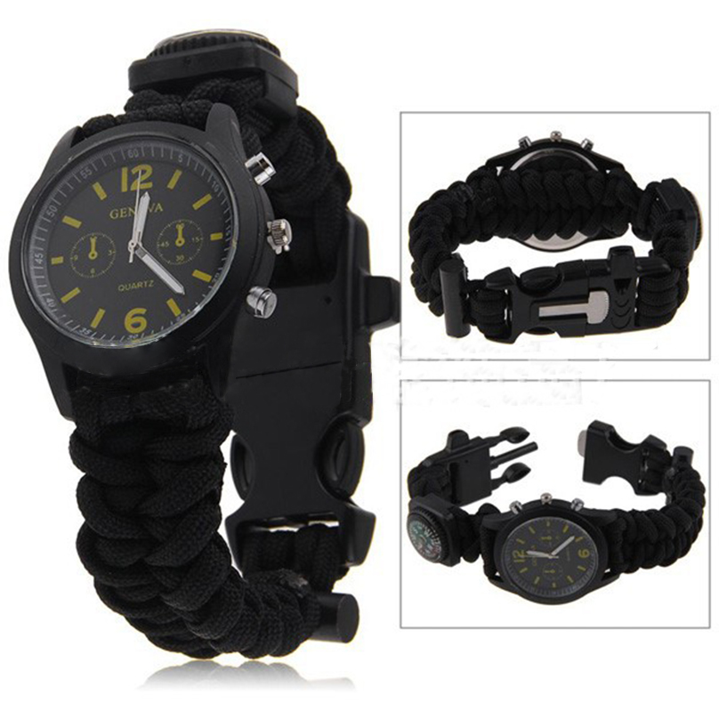 Outdoor Camping emergency Kit Parachute Cord tool Emergency Survival Bracelet Wristwatch Rope Rescue Flint Fire bracelet(China (Mainland))