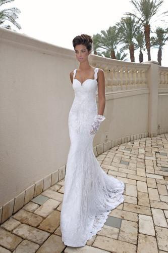 Sexy spaghetti straps lace wedding dress mermaid wedding dresses 2016 Louis. heart fish tail trailing formal dress(China (Mainland))