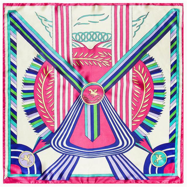 60 см * 60 см японский и корейский стиль небольшой свежий красочный атласные ленты женщины лошадь печатных моделирование небольшой площади шарф