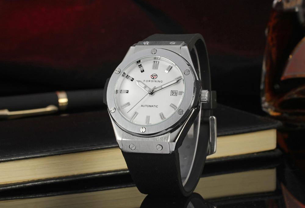 Forsining Men's Watch  Fashion Original Automatic Movement Unique  Rubber Band Army Wristwatches Color Black FSG8107M3S3-4