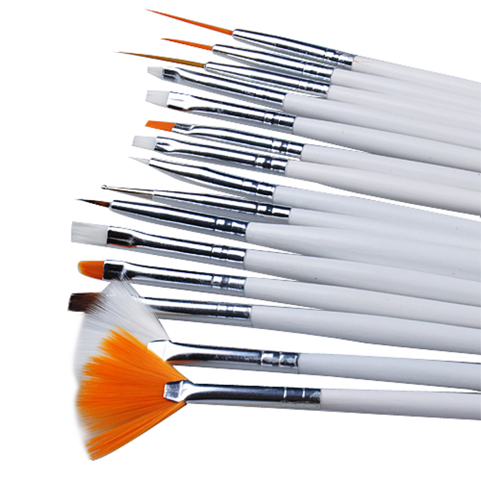 15Pcs/Set White Nail Art Acrylic Gel Tips Design Painting Drawing Pen Polish Brush Set Kit