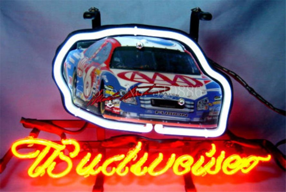 """NEON SIGN board For Budweiser Autographed Nascar #6 Racing Car GLASS Tube BEER BAR PUB store display Shop Light Signs 17*14""""(China (Mainland))"""