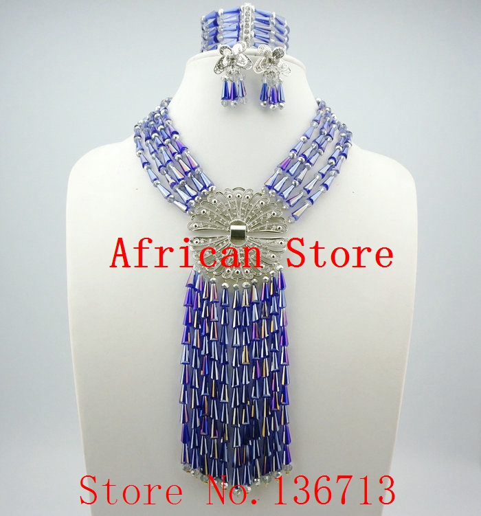 Royal Blue Crystal African Wedding Beads Bridal Jewelry Sets Statement Necklace Set 2015 SD501-1