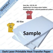 10 sheets sample of A3 Iron on Color Laser Heat Transfer Paper for Dark and Light fabrics Thermal Paper Papel Transfers Papers(China (Mainland))