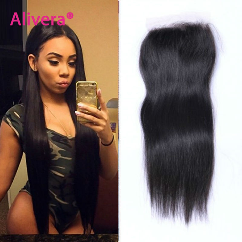 7A 4X4 Brazilian Straight Lace Closure Bleached Knots Virgin Human Hair Closure Free Middle 3 Part Top Lace Front Closure Piece(China (Mainland))