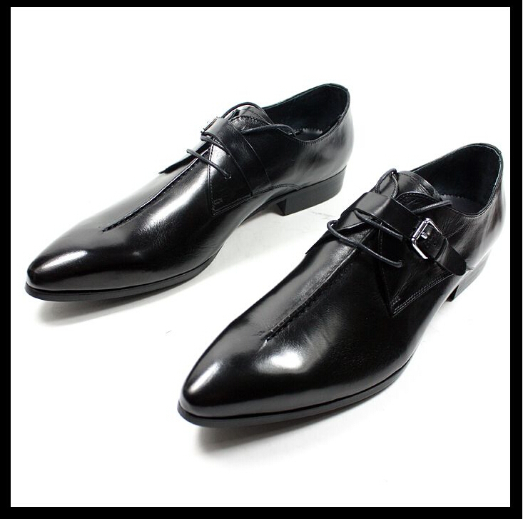 High quality! Italian Style luxury men shoes genuine leather pointed toe dress business brand oxfords size 37-45