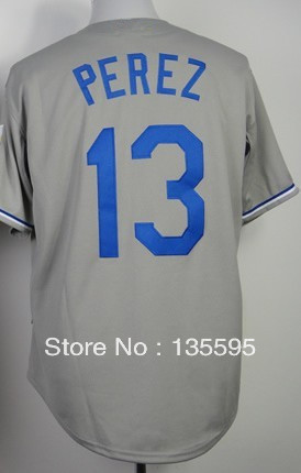 Hot Promotion!Cheap,#13 Salvador Perez Gray Men's Baseball Jerseys Sale Stitched baseball best - Free Shipping,Can mix order(China (Mainland))