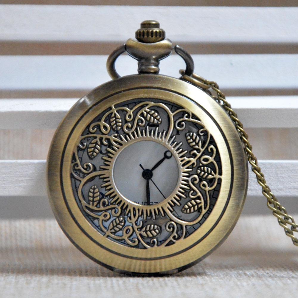 Retro Bronze Sun Flower Pattern Around Hollow Quartz Pocket Watch Analog Pendant Necklace Mens Womens Gifts A087 - Fashion watch 888 store