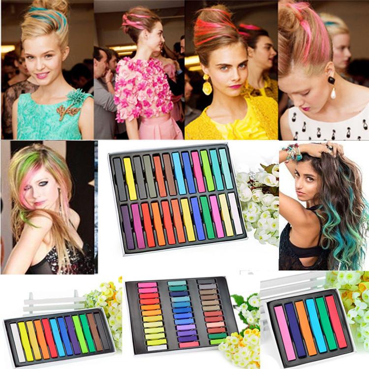 12 Colors Non-toxic Temporary Salon Kit Pastel Square Hair Chalk Pastel Chalk For Hair Powder Brush Hair Chalk Free Shipping(China (Mainland))