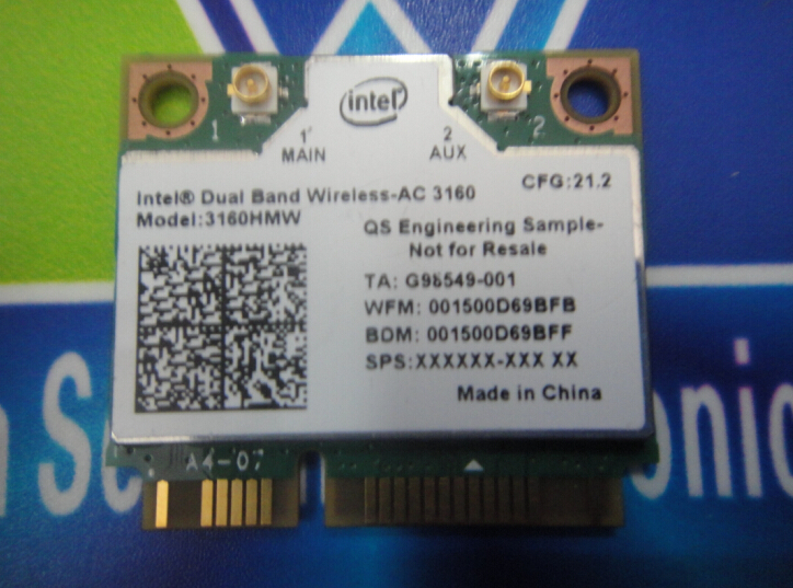Intel 3160 3160HMW 802.11ac Dual Band Wireless AC + Bluetooth 4.0 Mini PCIe card Supports 2.4 and 5.8Ghz B/G/N/AC Bands(China (Mainland))