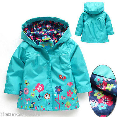 2015 Girls Long Sleeve Windbreak Girl Floral Waterproof Jacket Kid Anorak children